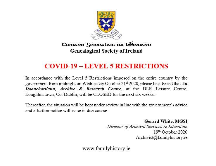 Covid-19 Level 5 Restricions